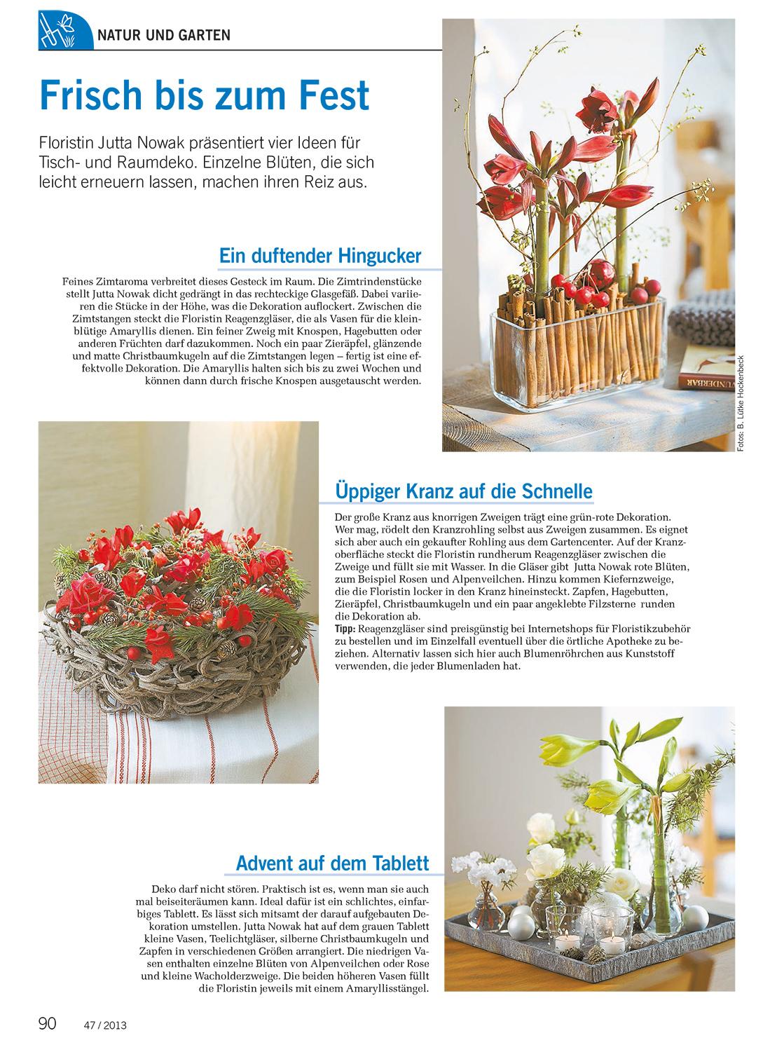 Einzelne Christbaumkugeln.Landwirtschaftliches Wochenblatt 47 2013 Advent Jutta Nowak
