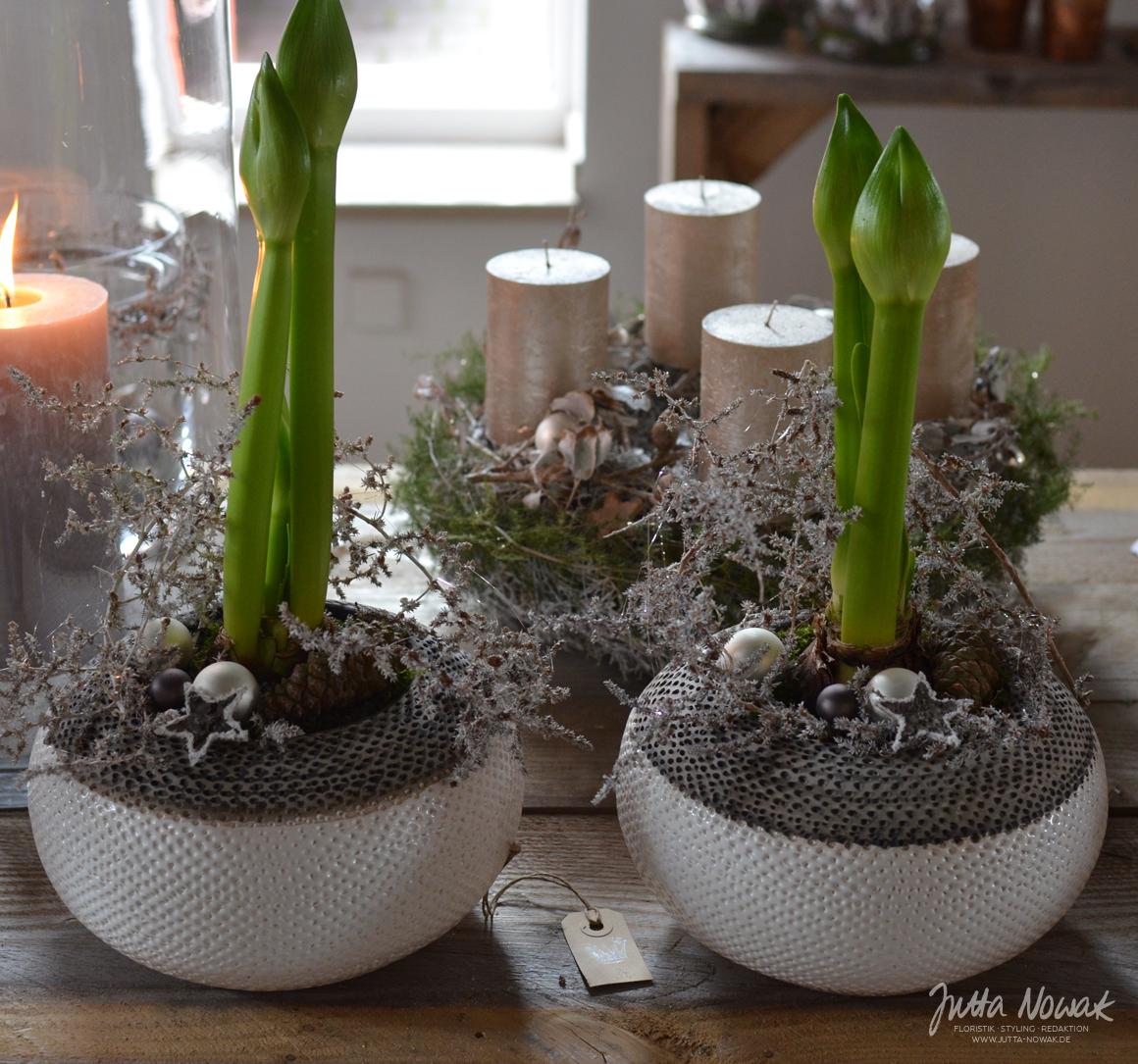 Jutta Nowak: Adventsausstellung 2015, weiße, gefüllte Amaryllis in Keramikschalen