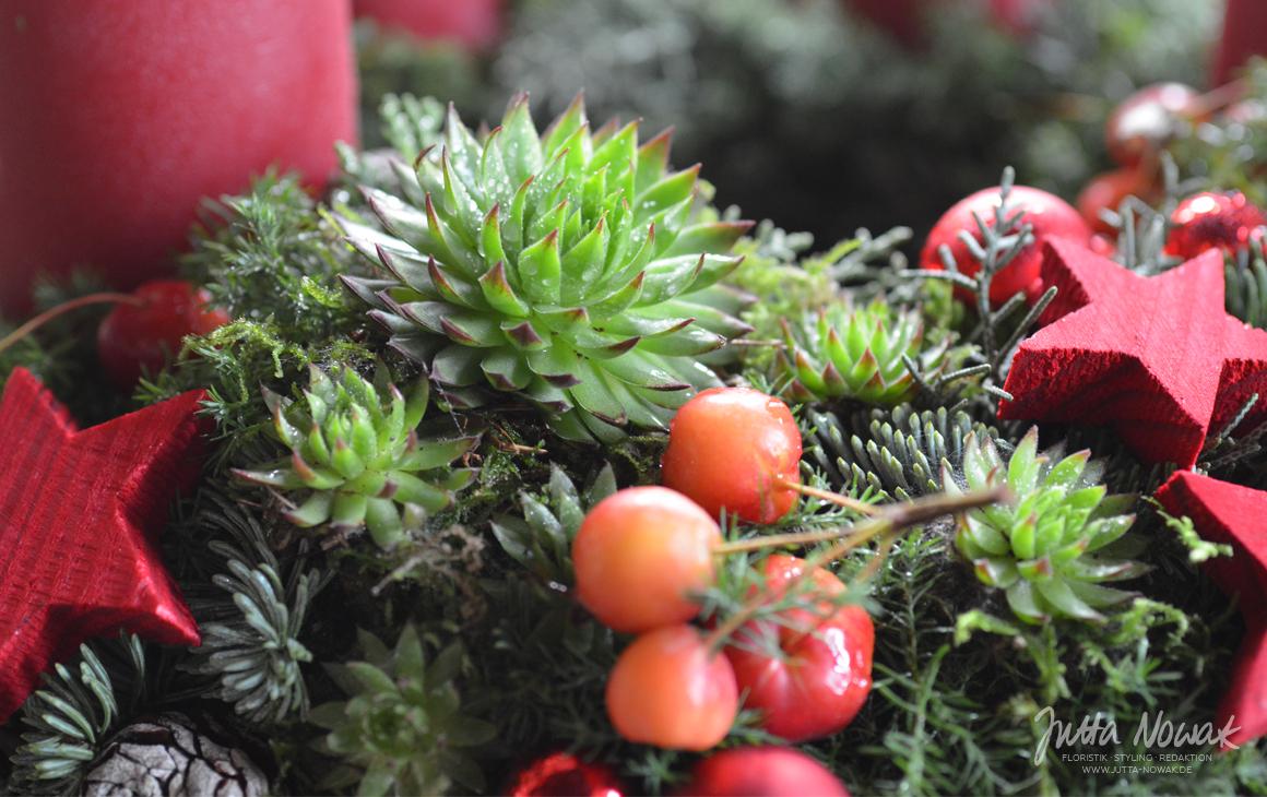 Jutta Nowak: Adventsausstellung 2015, roter Kranz mit Sempervivum