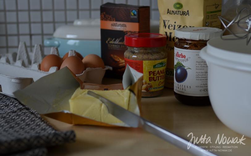 Jutta Nowak I Blog I 12 von 12 Januar 2016 I Zutaten für Marmorkuchen mit Pflaumenmus und Erdnusscreme-Swirl