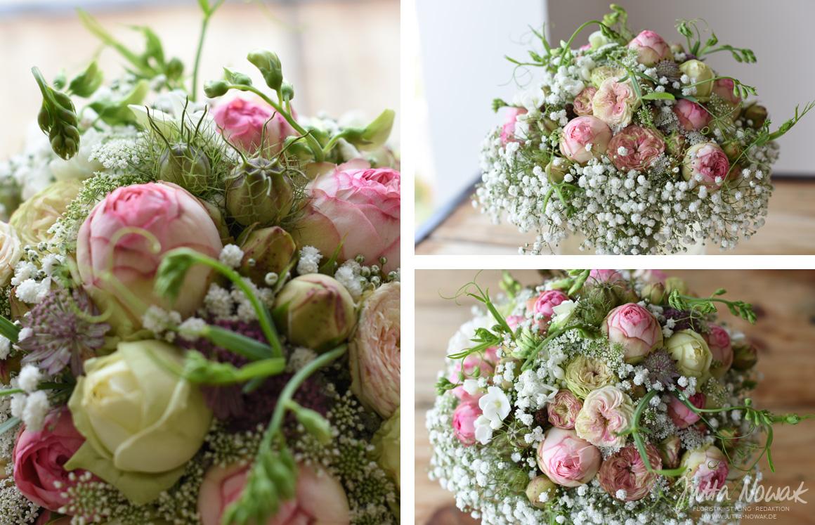 Jutta Nowak I Floristik I Hochzeit I romantischer Vintage-Brautstrauß Vintagess in Rosa Weiß