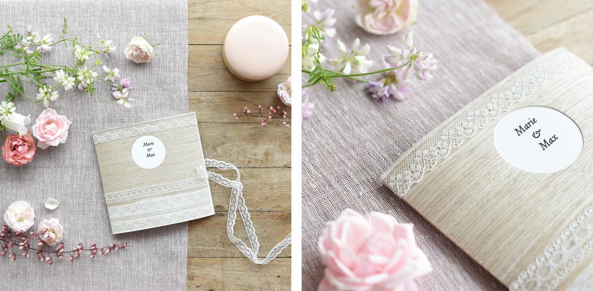 Jutta Nowak I Styling I Hochzeitseinladungen aus Holzfurnier-Stoff und Spitze