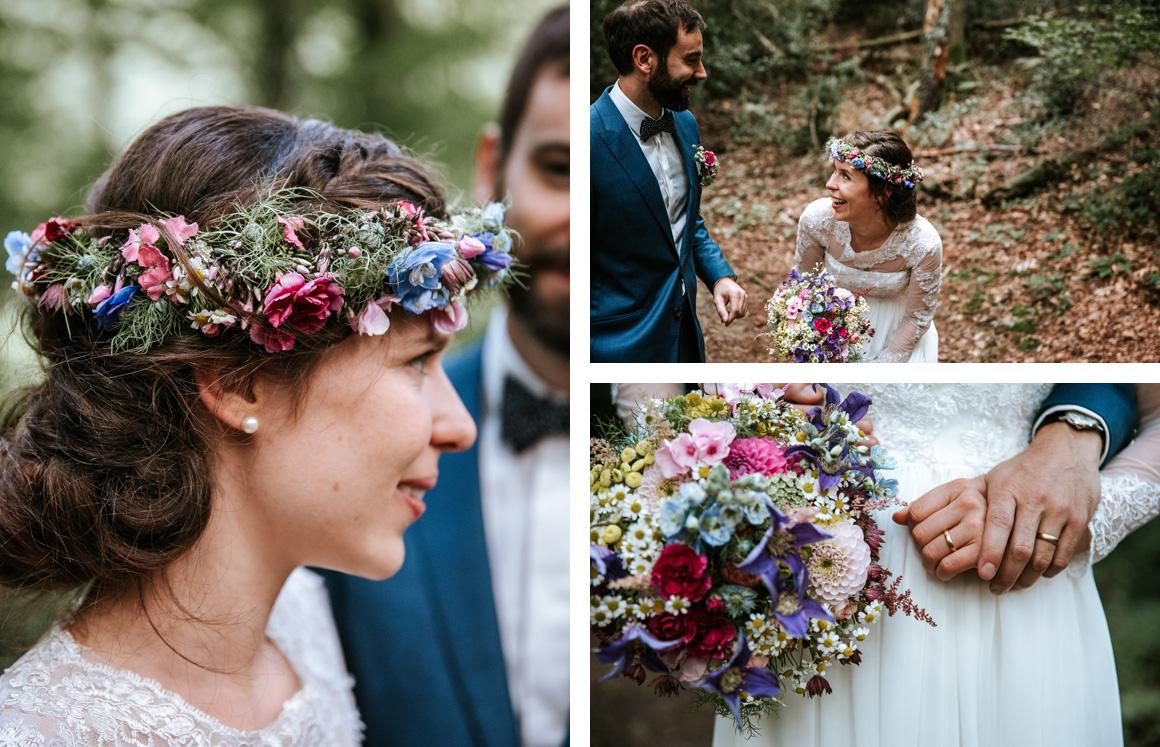 Jutta Nowak I Floristik I Hochzeit I Wiesen Brautstrauß und Haarkranz I Sommer I bunt