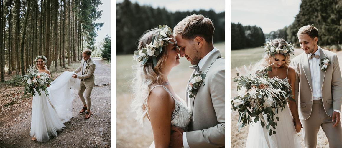 Jutta Nowak I Floristik I Hochzeit I Boho Brautstrauß, Haarkranz + Anstecker I Eukalyptus, Apricot, Creme, Weiß