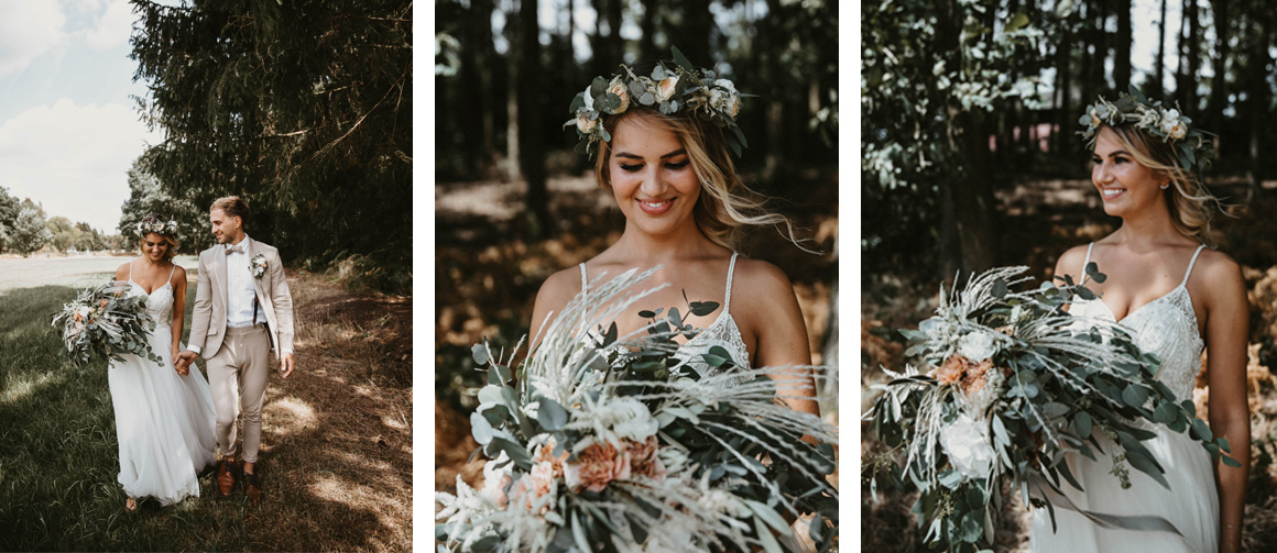 Jutta Nowak I Floristik I Hochzeit I Boho Brautstrauß, Haarkranz