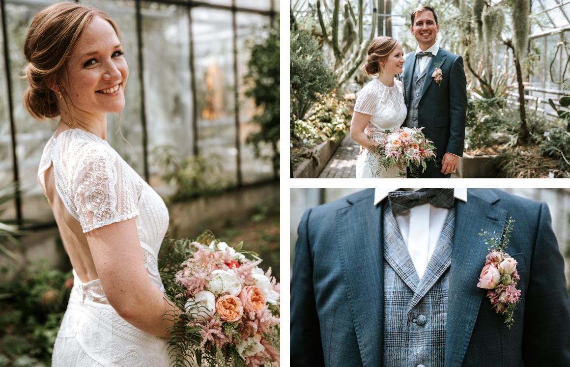 Jutta Nowak I Floristik I Hochzeit I lockerer Brautstrauß + Anstecker I Farn I Apricot, Rosa, Weiß, Grün
