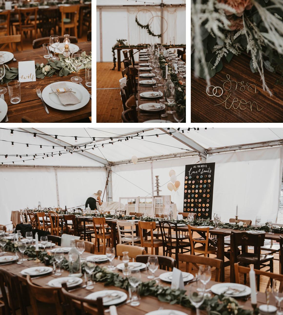 Jutta Nowak I Floristik I Hochzeit I Tischdeko: Eukalyptus-Girlanden mit Blüten I Grün, Apricot, Creme, Weiß